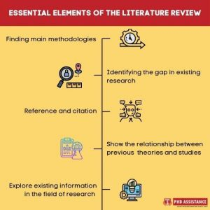 Mention the important elements involved in a literature review
